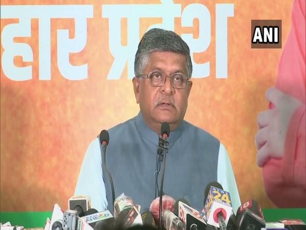 Union Minister Ravi Shankar Prasad speaking to reporters at a press conference in Patna on Friday. [Photo/ANI]