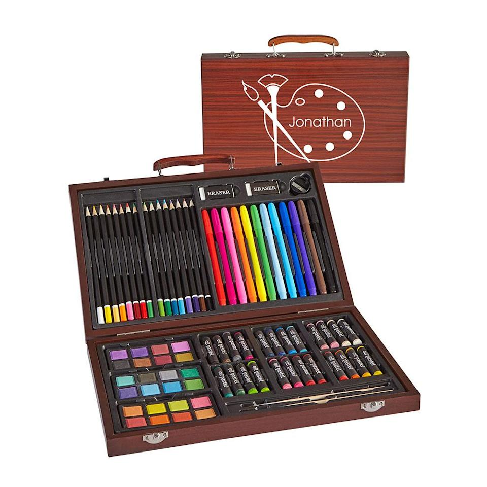 "<p>If there's a future Picasso in the family, this personalized set is just what they'll want this season. There's a place for all 80 pieces, so clean up is a breeze, and budding artists will have every tool required to produce their latest masterpiece. <br><strong><a href=""https://fave.co/2Qqgjs8"" rel=""nofollow noopener"" target=""_blank"" data-ylk=""slk:SHOP IT"" class=""link rapid-noclick-resp"">SHOP IT</a>:</strong> $19, <a href=""https://fave.co/2Qqgjs8"" rel=""nofollow noopener"" target=""_blank"" data-ylk=""slk:walmart.com"" class=""link rapid-noclick-resp"">walmart.com</a> </p>"