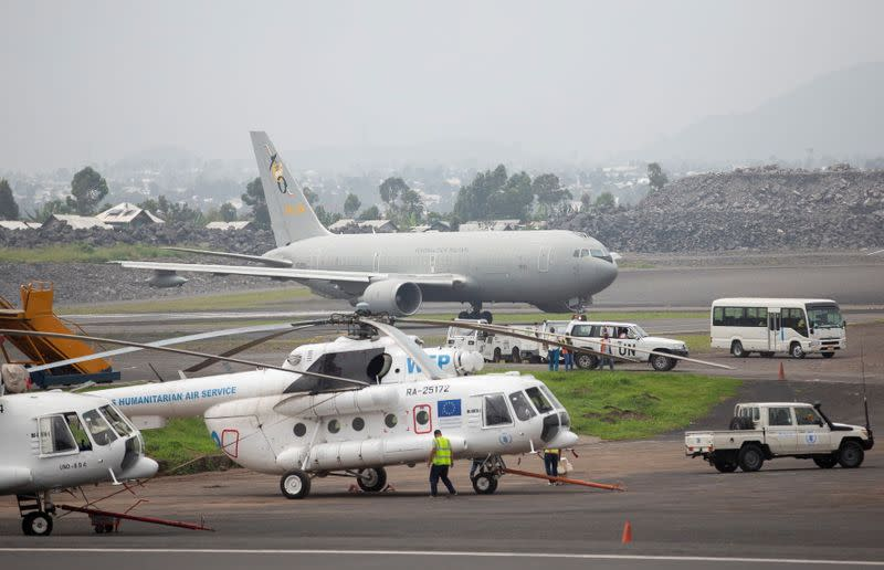 An Italian military plane carrying the bodies the slain Italian ambassador Congo Luca Attanasio and his security taxi-off from at the Goma airport