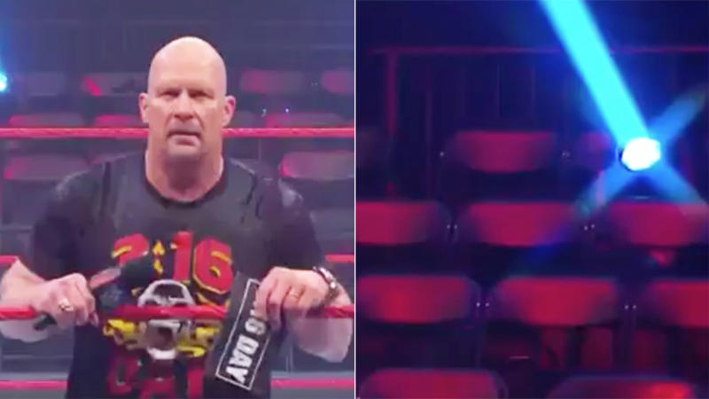 Stone Cold Steve Austin looking into the stadium with no crowd.