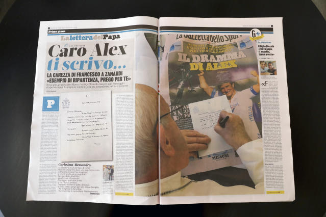 The page of Italian sports daily Gazzetta dello Sport showing Pope Francis writing a letter of encouragement to Alex Zanardi, Wednesday, June 24, 2020. Pope Francis is praising Alex Zanardi as an example of strength amid adversity as the Italian auto racing champion-turned-Paralympic gold medalist recovers from a handbike crash. Francis penned a letter of encouragement assuring Zanardi and his family of his prayers that was published on the front page of sports daily Gazzetta dello Sport on Wednesday. (AP Photo/Andrew Medichini)