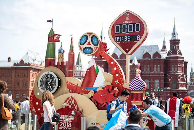 <p>Countdown: The clock in Moscow's Red Square has almost ticked down to zero. (Getty) </p>