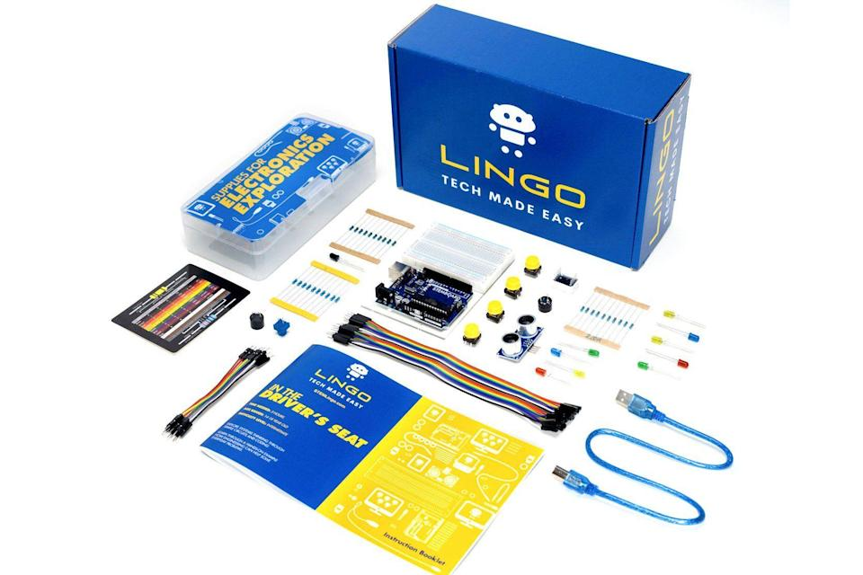 """<p><strong>STEMBoard</strong></p><p>stemlingo.com</p><p><strong>$69.99</strong></p><p><a href=""""https://stemlingo.com/collections/kits/products/776419"""" rel=""""nofollow noopener"""" target=""""_blank"""" data-ylk=""""slk:Shop Now"""" class=""""link rapid-noclick-resp"""">Shop Now</a></p><p>Give them a hands-on <strong>intro to hardware, software and coding</strong> all in one self-paced kit! The kit comes with instructions on how to build and program a backup sensor like the kind used in cars. <em>Ages 13+</em></p>"""