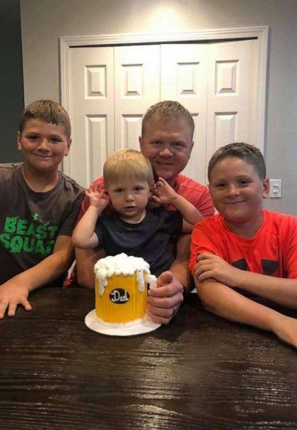 PHOTO: Brothers Talon, Tyson and Skyler pose with their father, Conor, Conor died suddenly at the age of 40 in September, leaving his wife, Heather, and their three sons. (Shannon Webb)