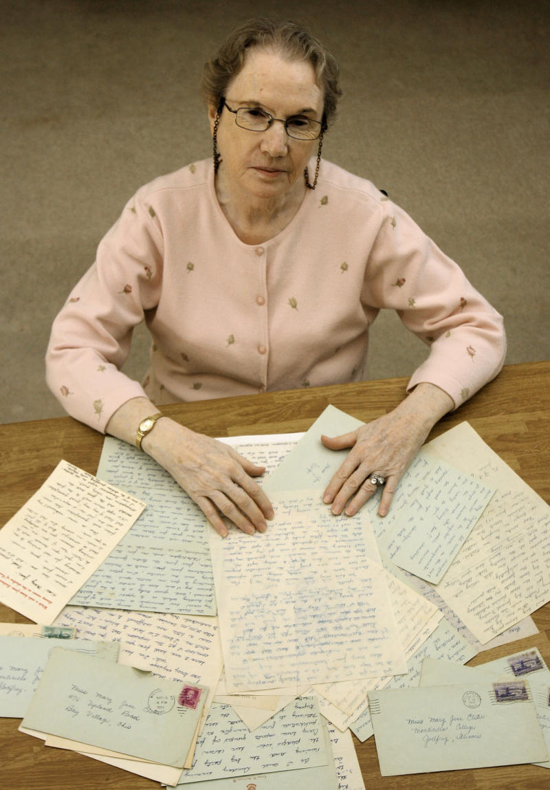 This photo made Oct. 21, 2010, shows Mary Jane Schriner, 77, with letters sent to her  years ago by George Steinbrenner, in Westlake, Ohio. (AP Photo/Tony Dejak)