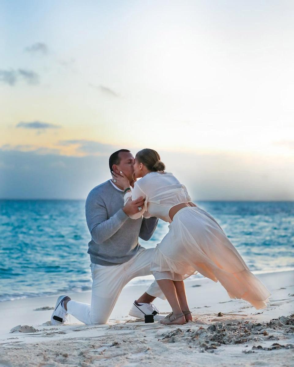 "<p>After two years of dating, the pair <a href=""https://people.com/music/jennifer-lopez-alex-rodriguez-engaged/"" rel=""nofollow noopener"" target=""_blank"" data-ylk=""slk:got engaged in the Bahamas in March 2019"" class=""link rapid-noclick-resp"">got engaged in the Bahamas in March 2019</a>. </p> <p>""She said yes,"" Rodriguez <a href=""https://www.instagram.com/p/Buzz2J8ADNB/"" rel=""nofollow noopener"" target=""_blank"" data-ylk=""slk:captioned a photo of Lopez"" class=""link rapid-noclick-resp"">captioned a photo of Lopez </a>wearing her engagement ring as he held her hand.</p>"