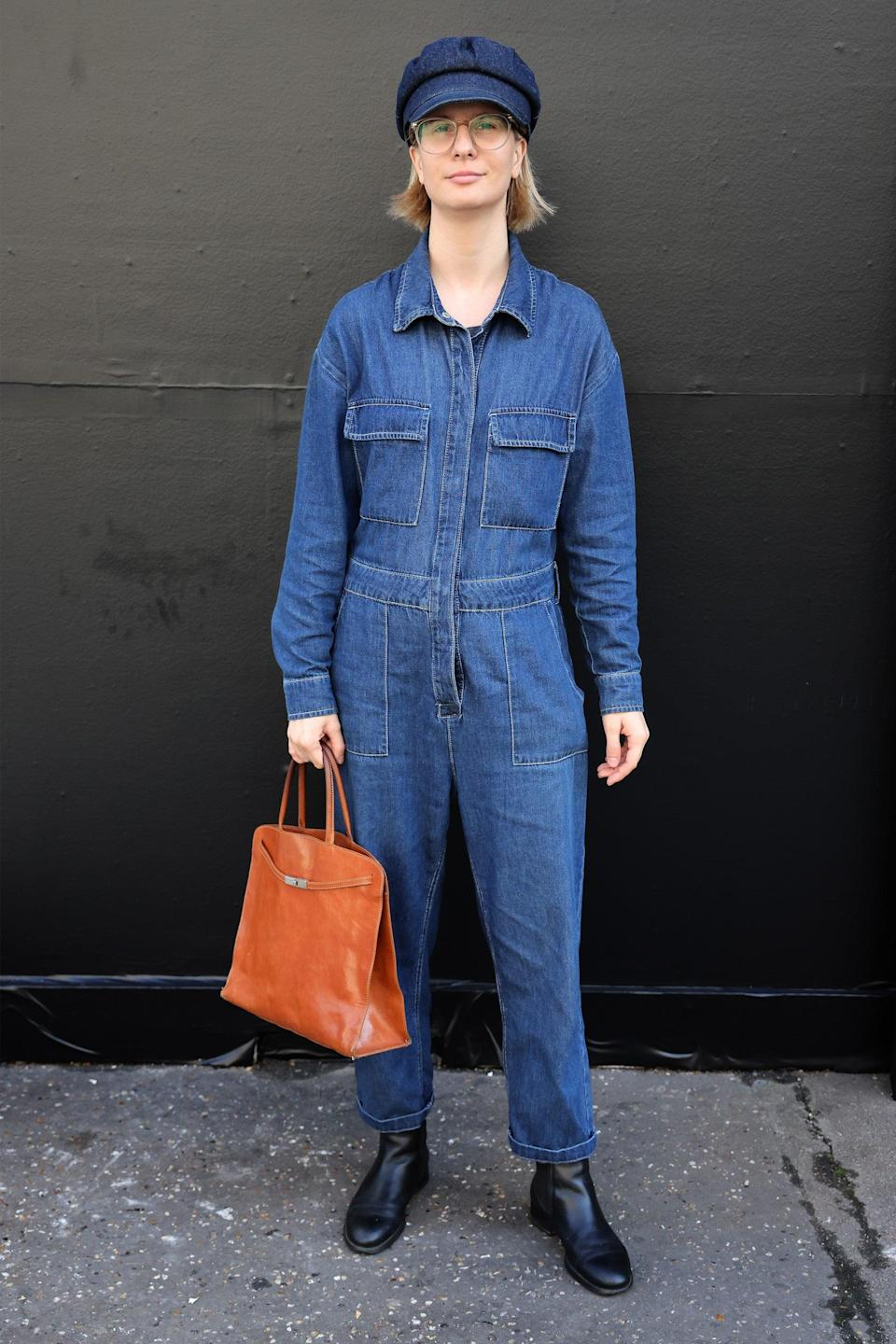 """This awesome denim jumpsuit is something we can see ourselves wearing all autumn.<span class=""""copyright"""">Photo Courtesy of Neil Mockford/Getty Images.</span>"""