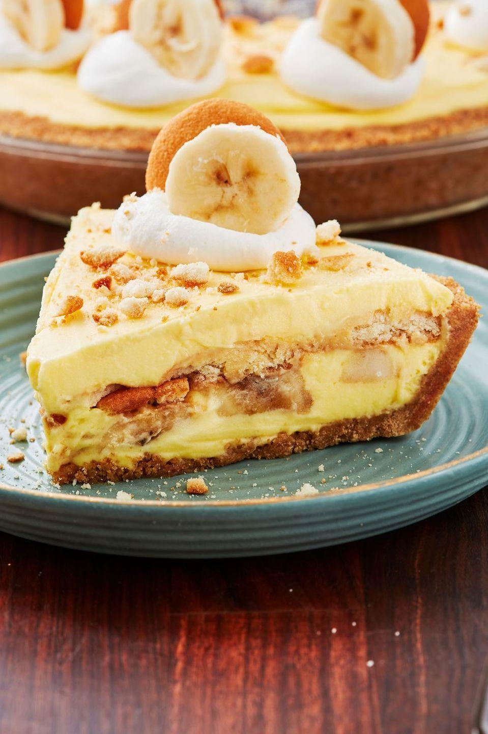 """<p>There's so many ways you can enjoy banana pudding — in a cup, baked into bars, or shaped into a creamy cheesecake. You'll need to refrigerate this uber-decadent mixture overnight to set, but overall prep time will take just about 20 minutes. </p><p><a href=""""https://www.delish.com/cooking/recipe-ideas/recipes/a52780/banana-pudding-cheesecake-recipe/"""" rel=""""nofollow noopener"""" target=""""_blank"""" data-ylk=""""slk:Get the recipe from Delish »"""" class=""""link rapid-noclick-resp""""><em>Get the recipe from Delish »</em></a></p>"""