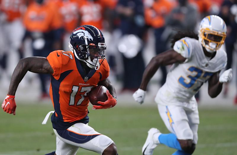 DaeSean Hamilton's 40-yard touchdown was one of the key plays in a comeback win over the Los Angeles Chargers. (Photo by Matthew Stockman/Getty Images)