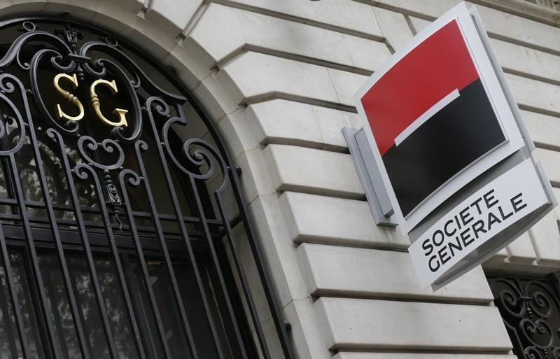 French bank Societe Generale logo is seen on the facade of a building in Paris
