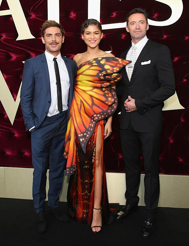 <p>The stars of <em>The Greatest Showman</em> attended the Australian premiere of their new film on Wednesday in Sydney. Zendaya stole the show in a whimsical butterfly dress. (Photo: Don Arnold/WireImage) </p>