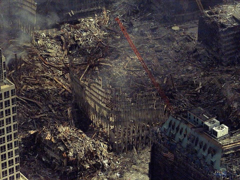 An aerial view of the remains of the World Trade Centre, more than two weeks after the attacks (US Coast Guard via Reuters)