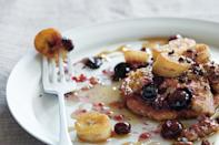 """A thick stack of these flourless pancakes is a dream breakfast, especially when piled high with caramelized bananas, some extra maple syrup, and a big dollop of crunchy almond butter. <a href=""""https://www.epicurious.com/recipes/food/views/gluten-free-blueberry-pancakes-with-caramelized-bananas?mbid=synd_yahoo_rss"""" rel=""""nofollow noopener"""" target=""""_blank"""" data-ylk=""""slk:See recipe."""" class=""""link rapid-noclick-resp"""">See recipe.</a>"""