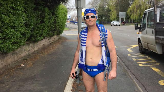 The Toffees super fan has previously visited every Premier League ground in his swimwear, and is down to his speedos once more for his latest trip
