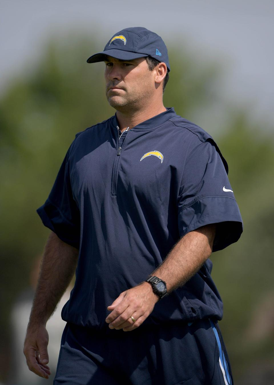 Chargers assistant offensive line coach James Cregg reacts during the opening day of training camp at the Jack Hammett Sports Complex. (Kirby Lee, USA TODAY Sports)
