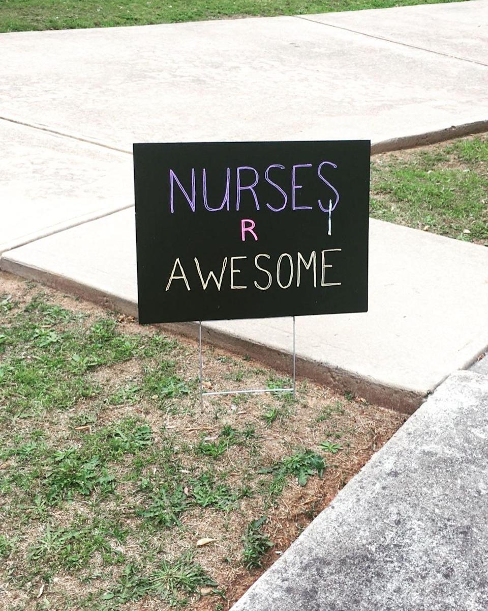 "<p>""I am a Registered Nurse, which makes me an essential worker. My neighbors posted signs of support for me in their yards during this pandemic. . . . It felt good knowing that they care enough to actually take the time to make a sign and then put it in their yards for me. I've never had anything done like this before, so it was a complete shock."" - Glenda Hargrove, BSN, RN, Atlanta, GA</p>"