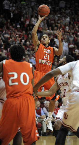 Sam Houston State guard Paul Baxter shoots during the first half of an NCAA college basketball game against Indiana in Bloomington, Ind., Thursday, Nov. 15 2012. (AP Photo Alan Petersime)