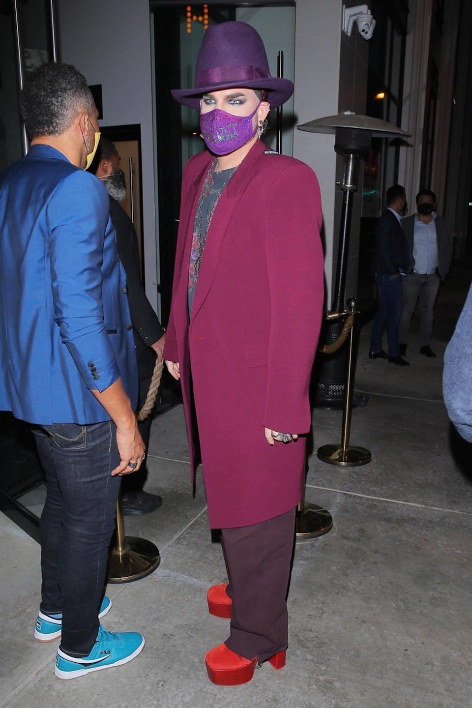 <p>Adam Lambert looks fabulous in red platforms while out to dinner with friends at Catch LA in West Hollywood.</p>
