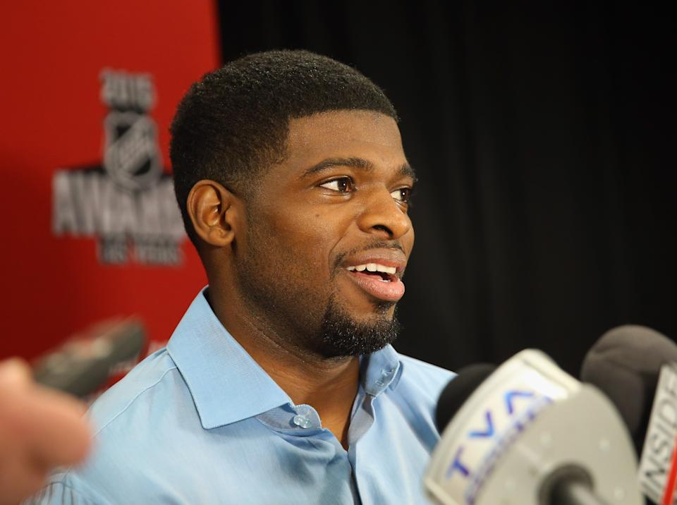 LAS VEGAS, NV - JUNE 23:  P.K. Subban of the Montreal Canadiens attends the 2015 NHL Awards nominee media availability at MGM Grand Arena on June 23, 2015 in Las Vegas, Nevada.  (Photo by Bruce Bennett/Getty Images)
