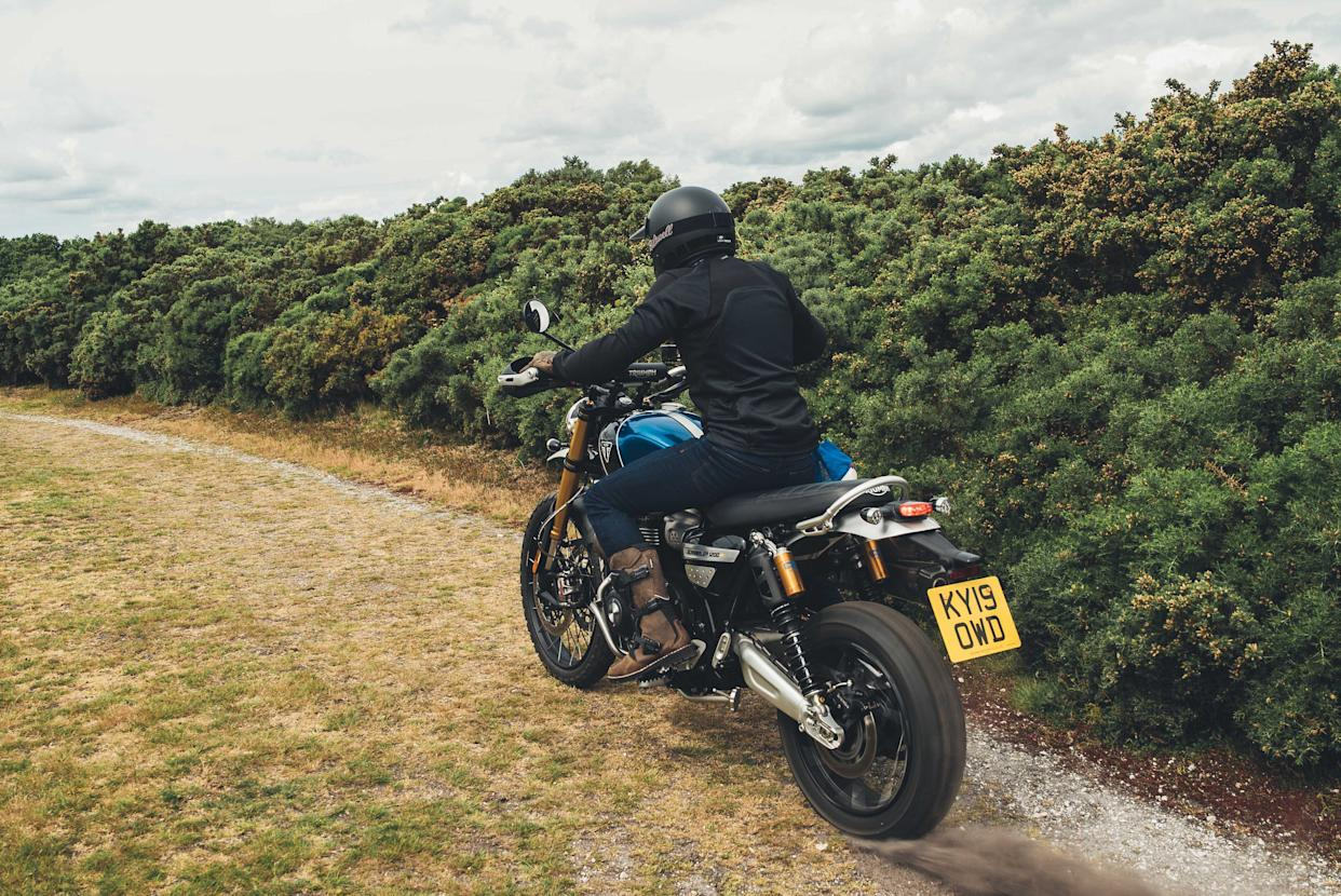 Chunky tyres help the bike keep traction off-road