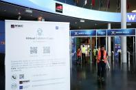 Entrance for Mobile World Congress (MWC) is pictured at Fira de Barcelona