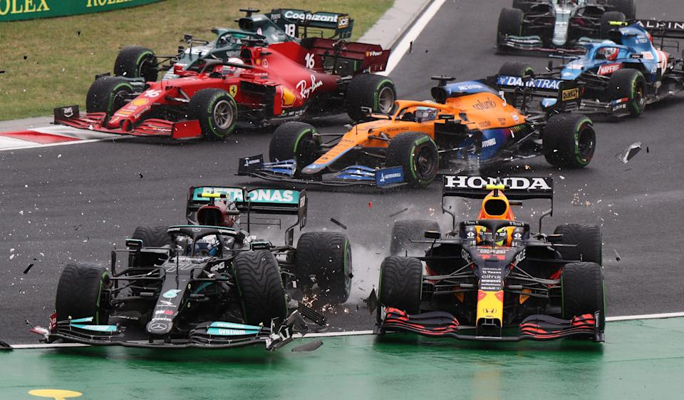 A chaotic first corner left the race wide open. (Pool via REUTERS)