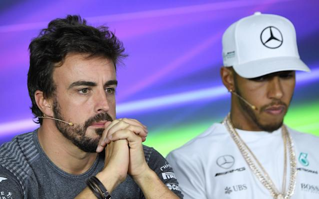<span>Alonso with Lewis Hamilton at the Australian Grand Prix last month</span>