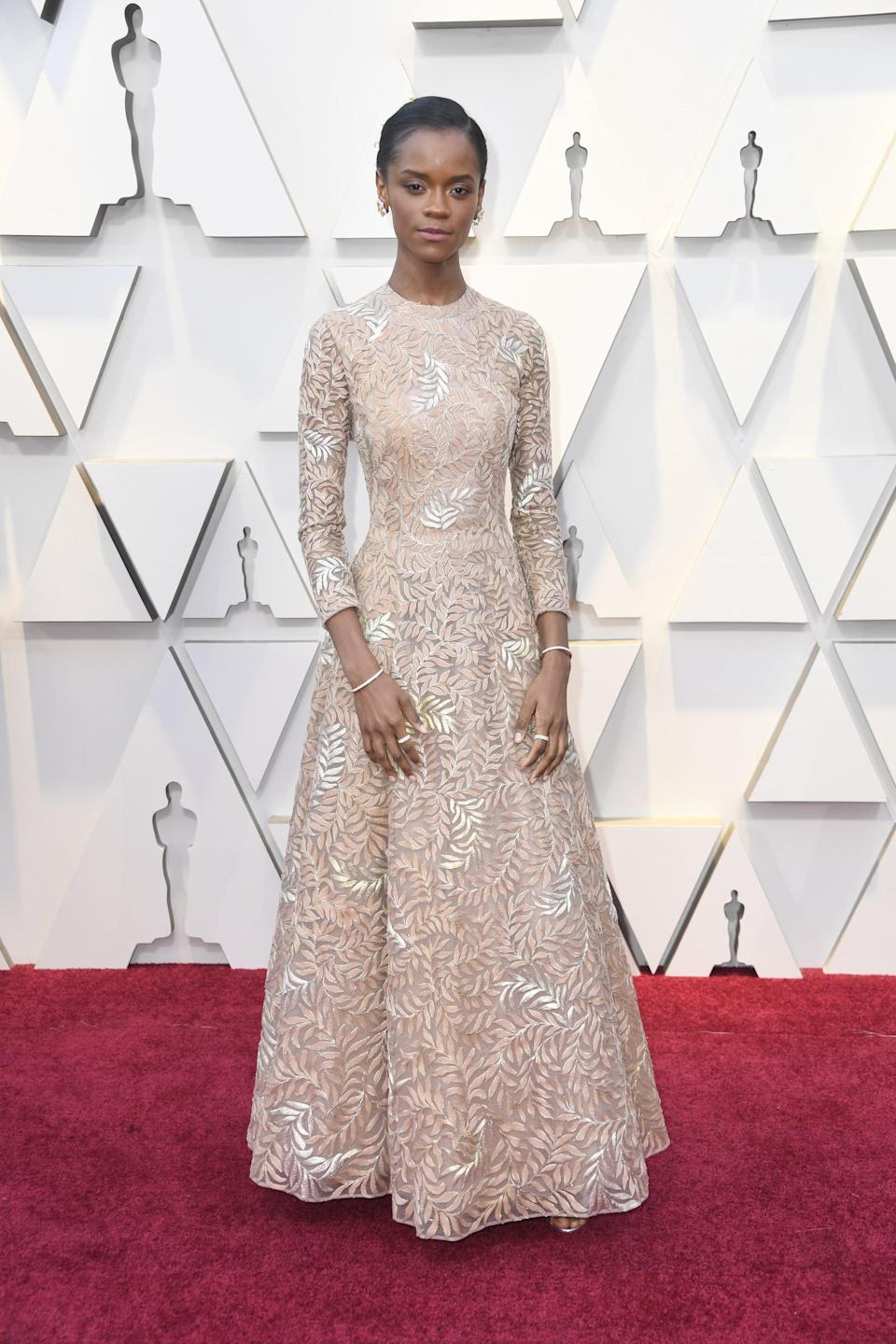 <p>Wearing a Dior Haute Couture dress with Cartier jewels and Nicholas Kirkwood shoes.</p>