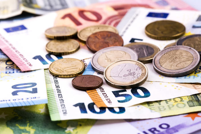 On Friday, the currency had given up half of its gains for the year amid a surge of coronavirus cases in Europe. It closed at $1.1630. Photo: Getty