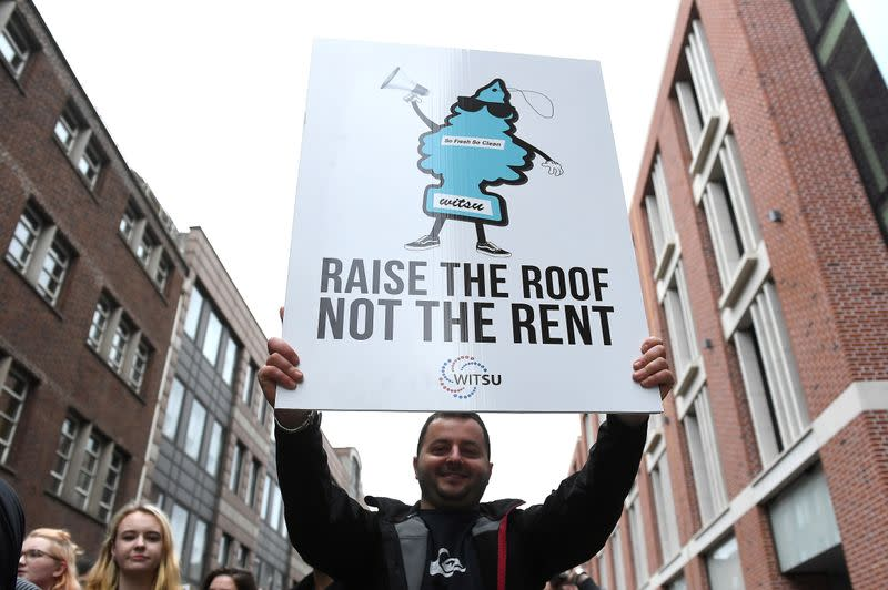 FILE PHOTO: People protest Ireland's housing crisis in a 'Raise the Roof' rally outside government buildings in Dublin