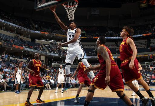 MEMPHIS, TN - NOVEMBER 26: Rudy Gay #22 of the Memphis Grizzlies shoots a layup against Dion Waiters #3, Alonzo Gee #33, and Anderson Varejao #17 of the Cleveland Cavaliers on November 26, 2012 at FedExForum in Memphis, Tennessee. (Photo by Joe Murphy/NBAE via Getty Images)