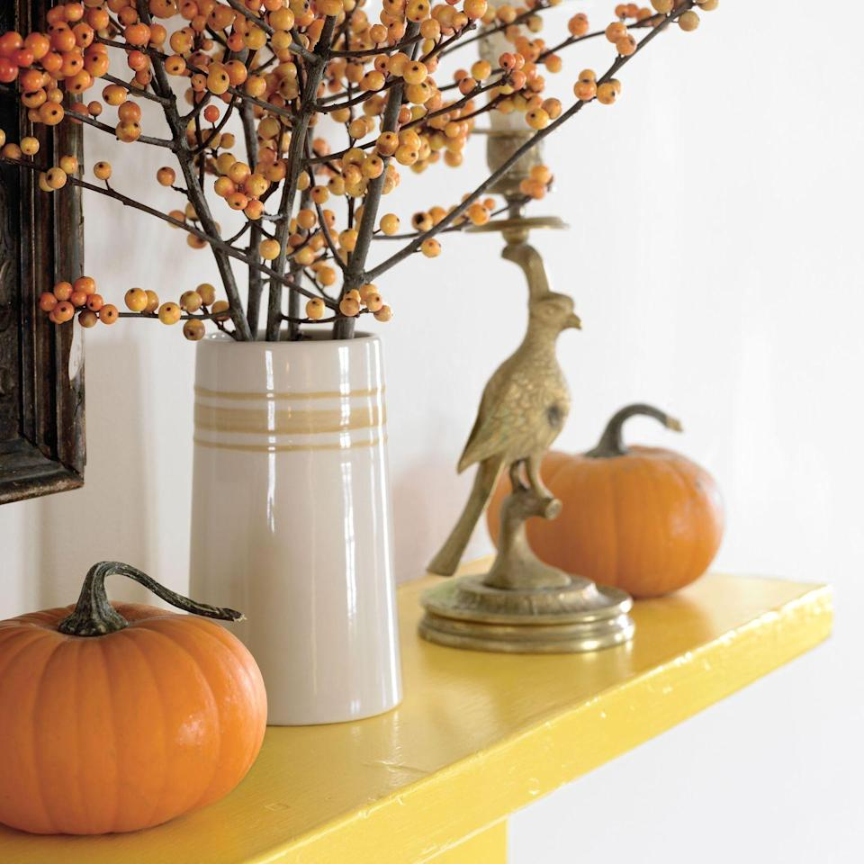 <p>Celebrate the arrival of fall by filling a chic vase with orange berry branches.</p>