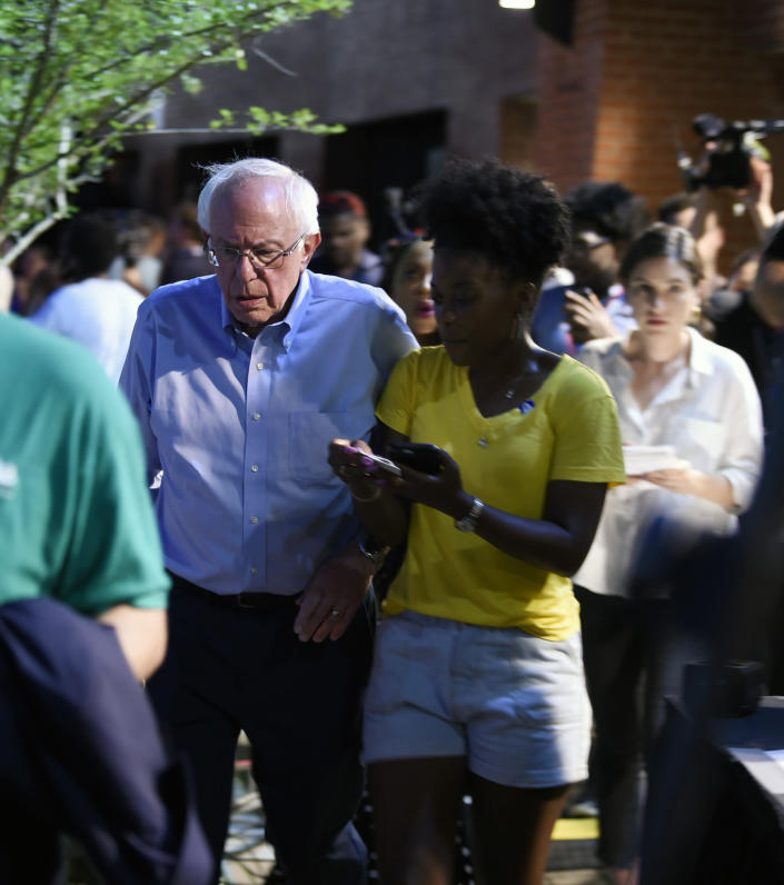 "Vermont Sen. Bernie Sanders arrives at Majority Whip Jim Clyburn's ""World Famous Fish Fry"" on Friday, June 21, 2019, in Columbia, S.C. The event has become a mainstay on the campaign trail through this early-voting state. (AP Photo/Meg Kinnard)"