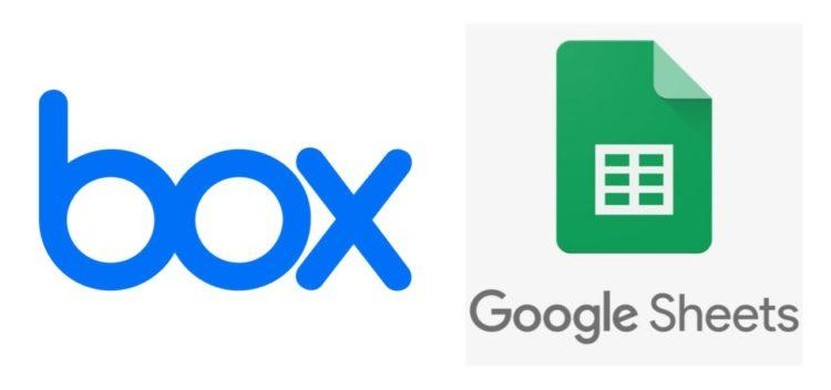 Box.com logo on the left and Google Sheets logo on the right
