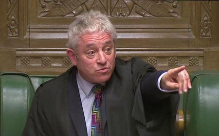 Speaker of the House John Bercow gestures after the vote on British Prime Minister Theresa May's Brexit deal, in London