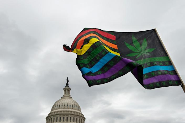 Activists hold a rally at the U.S. Capitol to call on Congress pass cannabis reform legislation on Oct. 8, 2019.