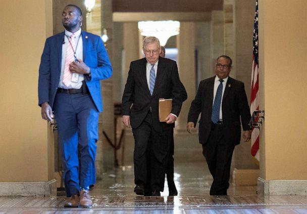 PHOTO: Senate Majority Leader Mitch McConnell walks from his office to the Senate floor at the Capitol on March 18, 2020 in Washington, D.C. (Win Mcnamee/Getty Images)