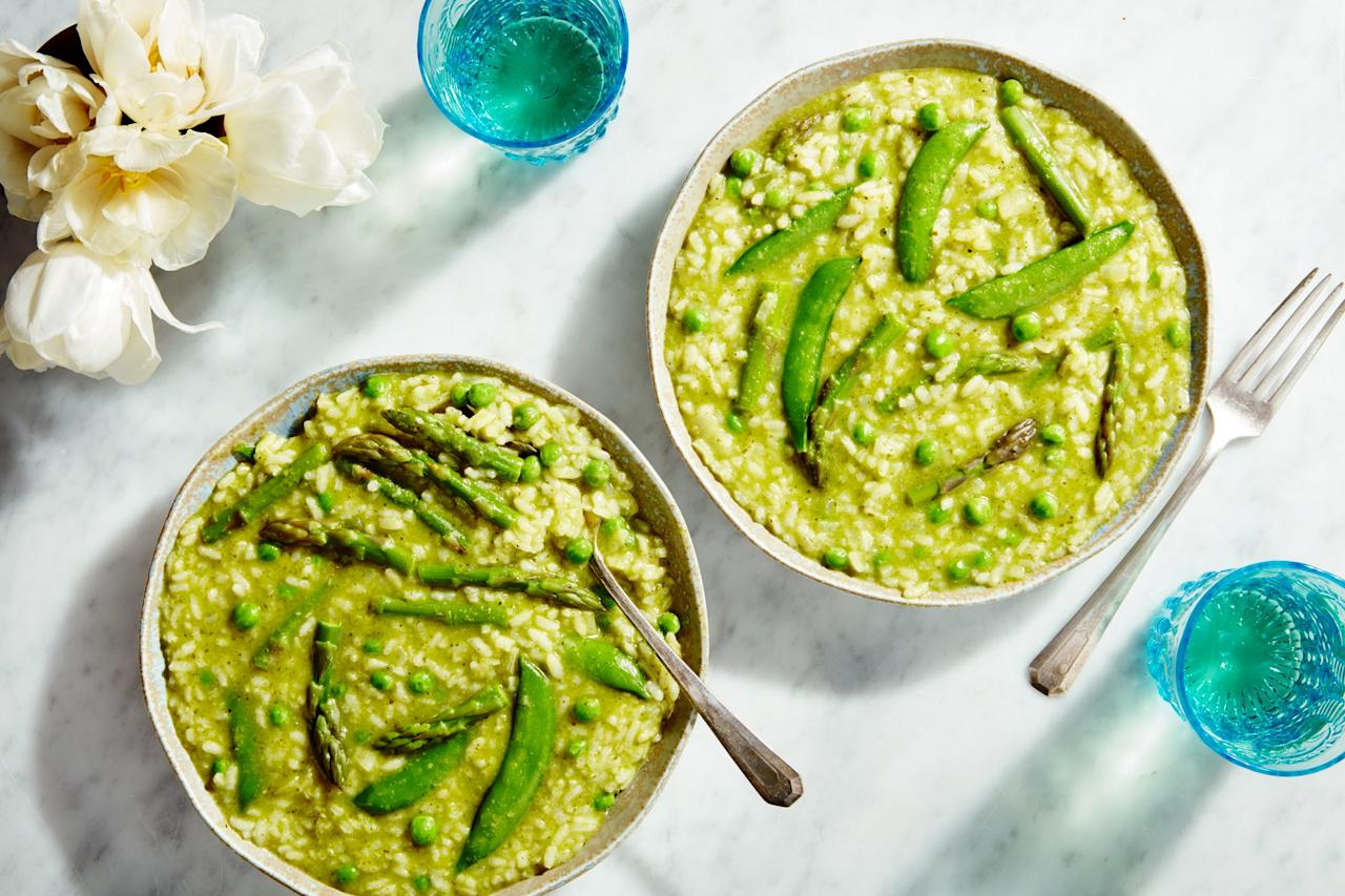 """Risotto is the perfect vehicle for fresh, vibrant green vegetables like asparagus and peas. <a href=""""https://www.epicurious.com/recipes/food/views/spring-risotto?mbid=synd_yahoo_rss"""">See recipe.</a>"""