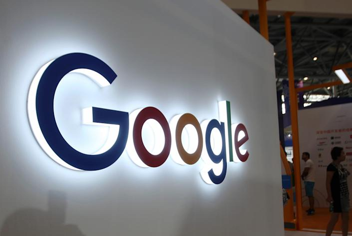 This photo taken on August 23, 2018 shows the Google logo on display at the Smart China Expo at Chongqing International Expo Center in southwest China's Chongqing.