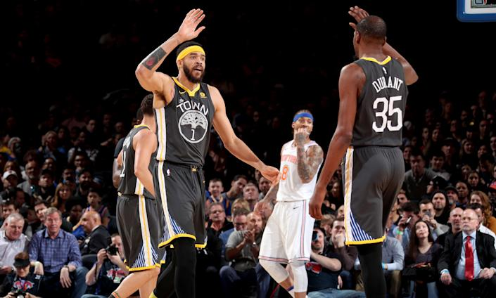 Kevin Durant and JaVale McGee of Golden State Warriors. (Photo: Nathaniel S. Butler via Getty Images)