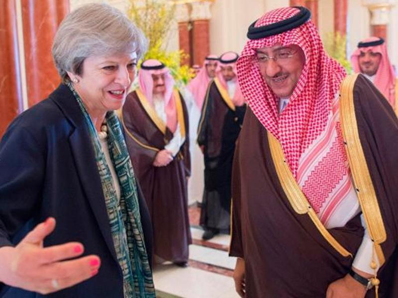 Theresa May with Saudi Crown Prince Muhammad bin Nayef in Riyadh on Wednesday: EPA