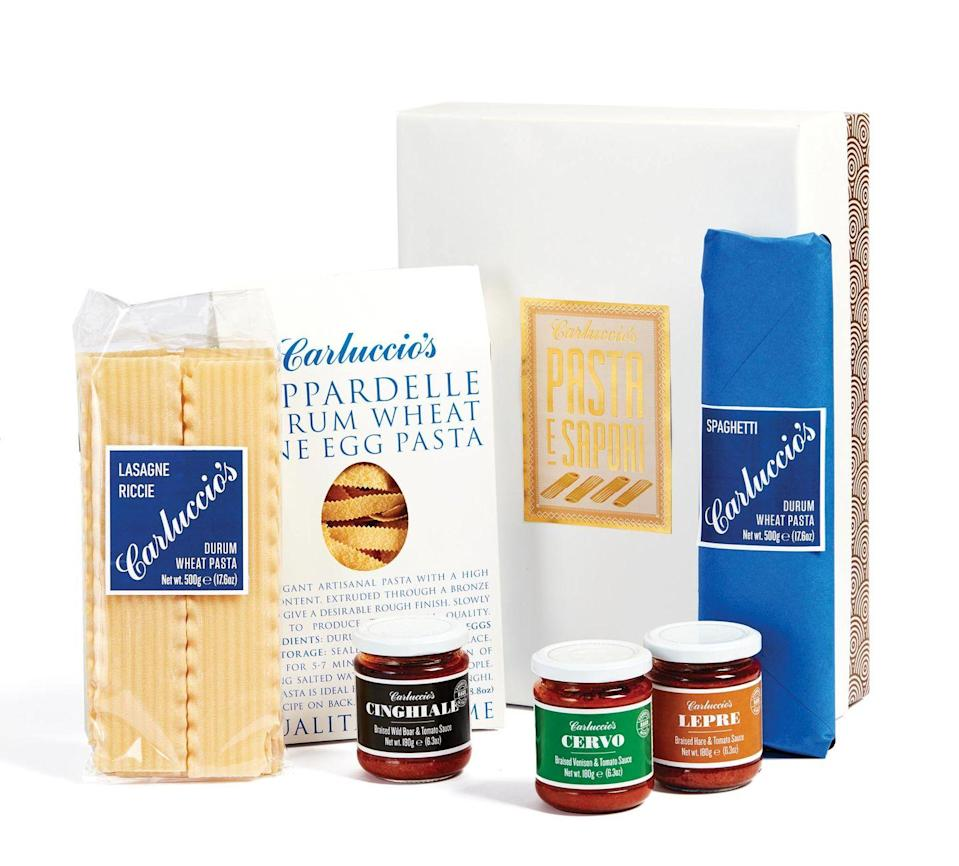 """<p><a class=""""link rapid-noclick-resp"""" href=""""https://www.carluccios.com/products/pasta-e-sapori-gift-set/"""" rel=""""nofollow noopener"""" target=""""_blank"""" data-ylk=""""slk:SHOP NOW"""">SHOP NOW</a></p><p>Give the gift of the Med with this selection of Italian savoury treats, including three types of pasta and three sauces. Buonissimo!</p><p>Pasta e sapori gift set, £32.95, Carluccio's</p>"""
