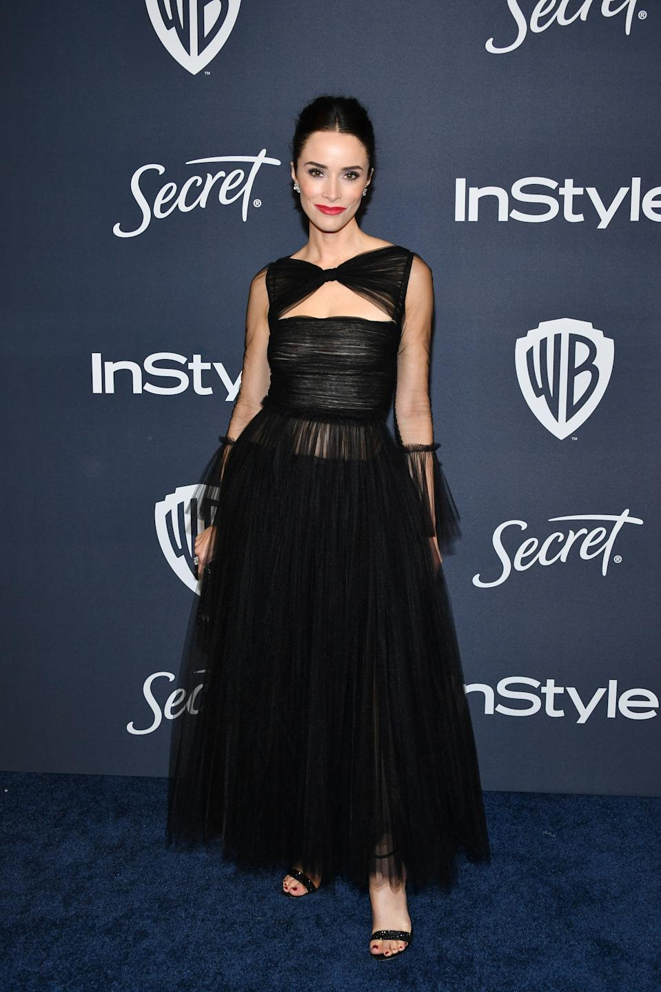 Wearing a black, tulle gown. <em>[Photo: Getty]</em>