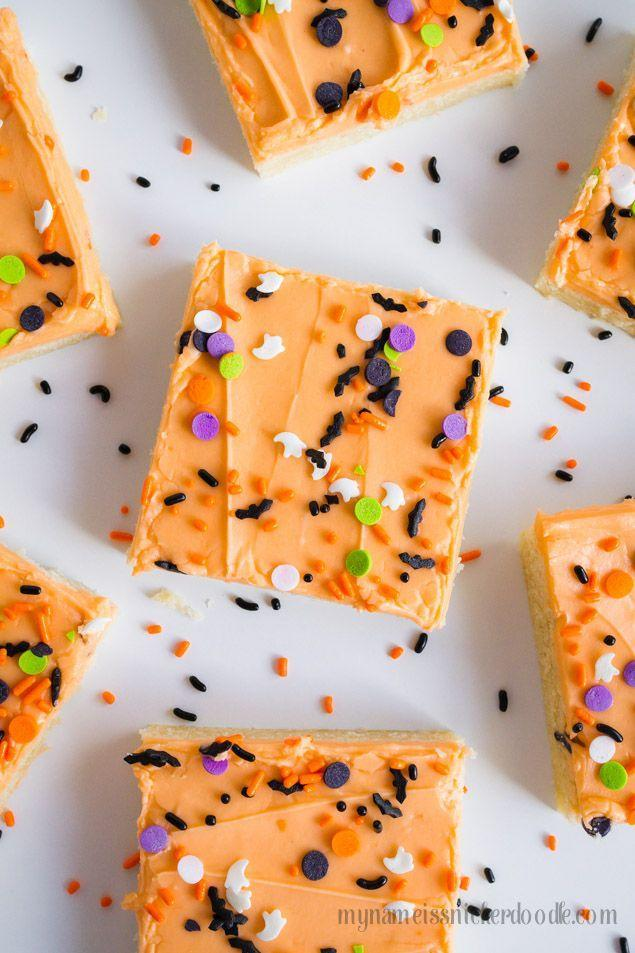 """<p>Want to make a big batch of cookies, but don't feel like spending your whole day in the kitchen? These sugar cookie bars are your secret weapon. Simply make the dough, then press it into a baking sheet.</p><p><strong>Get the recipe at <a href=""""https://www.mynameissnickerdoodle.com/halloween-sugar-cookie-bars/"""" rel=""""nofollow noopener"""" target=""""_blank"""" data-ylk=""""slk:My Name Is Snickerdoodle"""" class=""""link rapid-noclick-resp"""">My Name Is Snickerdoodle</a>.</strong></p><p><strong><a class=""""link rapid-noclick-resp"""" href=""""https://go.redirectingat.com?id=74968X1596630&url=https%3A%2F%2Fwww.walmart.com%2Fsearch%2F%3Fquery%3Dbaking%2Bsheets&sref=https%3A%2F%2Fwww.thepioneerwoman.com%2Ffood-cooking%2Fmeals-menus%2Fg32110899%2Fbest-halloween-desserts%2F"""" rel=""""nofollow noopener"""" target=""""_blank"""" data-ylk=""""slk:SHOP BAKING SHEETS"""">SHOP BAKING SHEETS</a><br></strong></p>"""