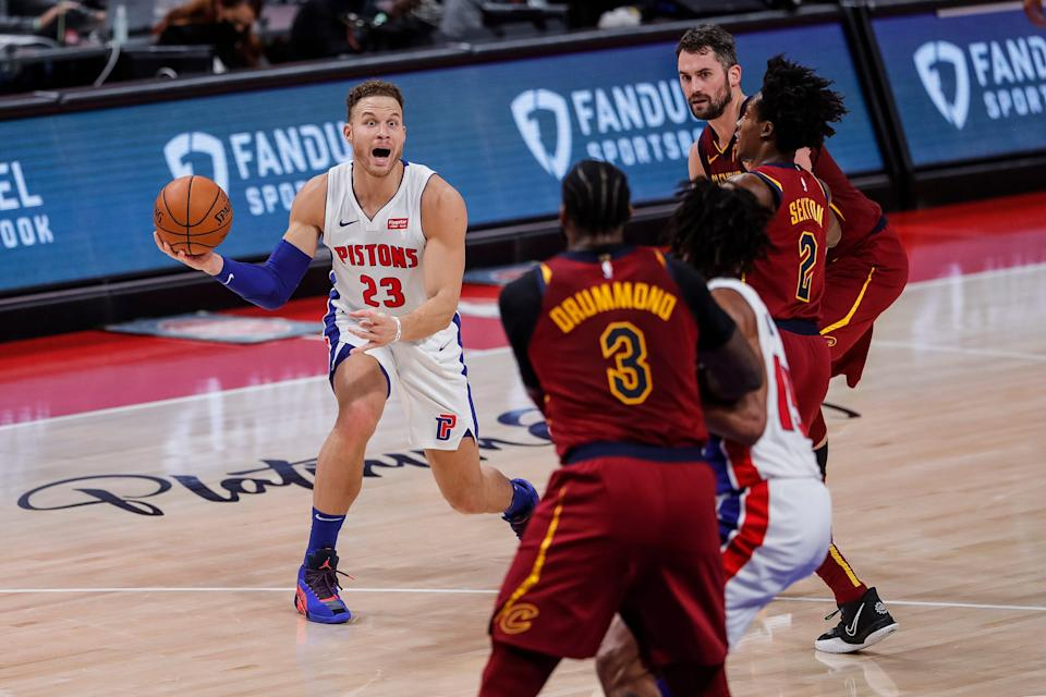 Detroit Pistons forward Blake Griffin (23) looks to makes a pass to Jahlil Okafor (13) during the first half at the Little Caesars Arena in Detroit, Mich., Saturday, Dec. 26, 2020.