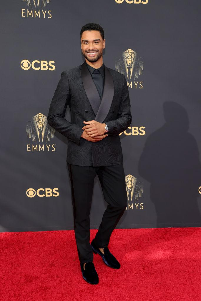 """<p>The Duke of Hastings himself! The """"Bridgerton"""" star looked stylish in a monochrome look with velvet smoking slippers for the Emmy red carpet. (Image via Getty Images)</p>"""