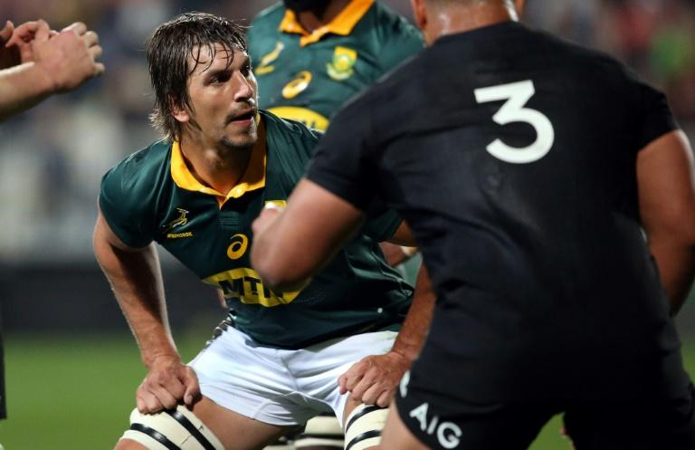 South Africa's Eben Etzebeth waits for the line-out during their Rugby Championship match against New Zealand, at Albany Stadium in Auckland, on September 16, 2017