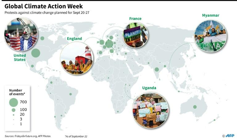 Map of climate protests planned during Global Climate Action Week (Sept 20-27) (AFP Photo/Sophie RAMIS)