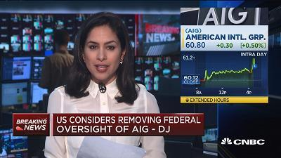 CNBC's Seema Mody reports on the government considering removing its federal oversight of AIG.