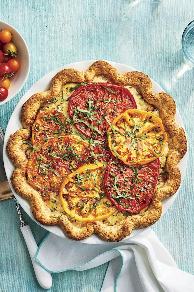 """<p><b>Recipe: </b><a href=""""https://www.southernliving.com/recipes/heirloom-tomato-pie""""><strong>Heirloom Tomato Pie </strong></a><br /><strong>Recipe:</strong> <a href=""""https://www.southernliving.com/recipes/parmesan-buttermilk-pie-crust""""><strong>Parmesan-Buttermilk Crust</strong></a></p>"""